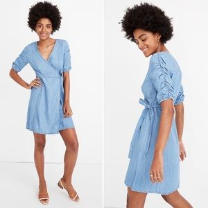 💜Madewell Denim Wrap Dress Shirred Sleeve K9318
